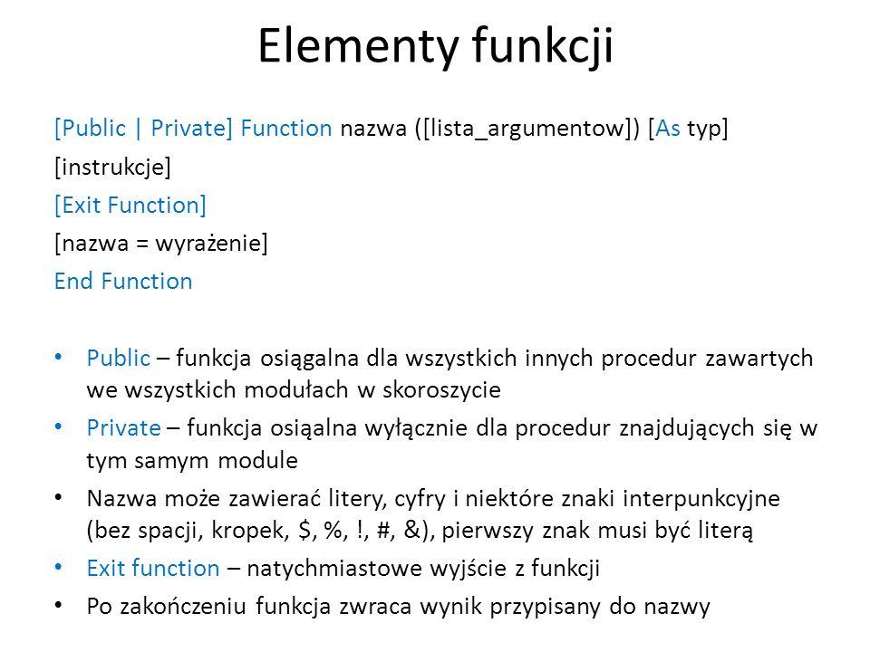 Elementy funkcji [Public | Private] Function nazwa ([lista_argumentow]) [As typ] [instrukcje] [Exit Function]
